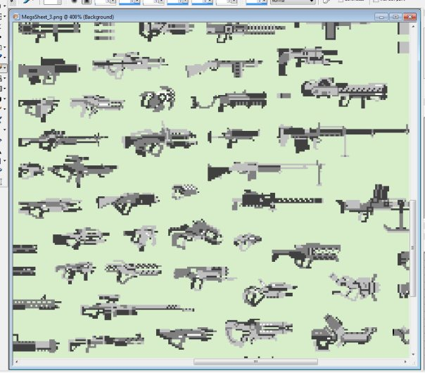 What you see here is only 10% of all the guns on this huge sheet.