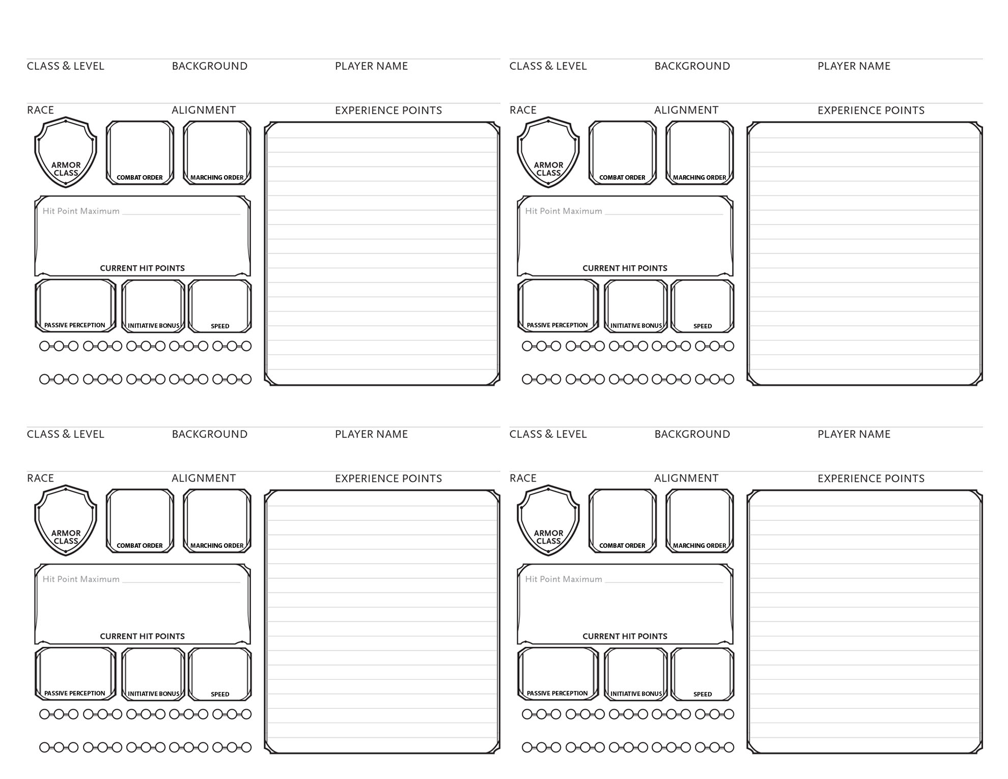 D D 5e Character Sheet Double Sided Printable: D&D 5e Party Tracking Sheet