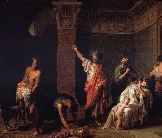 An episode from Book 1 of The Histories: Astyages sends Harpagus to kill baby Cyrus. Painting by Jean Charles Nicaise Perrin via Wikipedia (public domain)